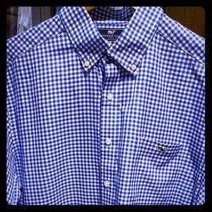 Vineyard Vines LS Blue & White Checked Shirt